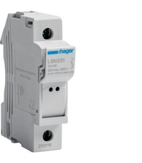 LSN531 Modułowa podstawa bezpiecz. z lampką 1P wkł.bezp.cyl.L38 10x38mm, 32A 690VAC Hager