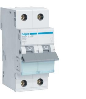 MBN532E MCB Wyłącznik nadprądowy Icn 6000A 1P+N B 32A  Hager