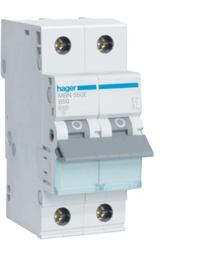 MBN550E MCB Wyłącznik nadprądowy Icn 6000A 1P+N B 50A  Hager