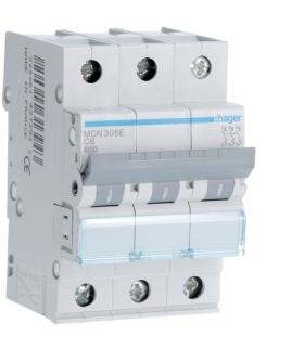 MCN306E MCB Wyłącznik nadprądowy Icn 6000A 3P C 6A Hager