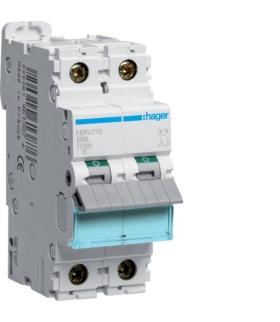 NBN216 MCB Wyłącznik nadprądowy Icn 10000A / Icu 15kA 2P B 16A  Hager