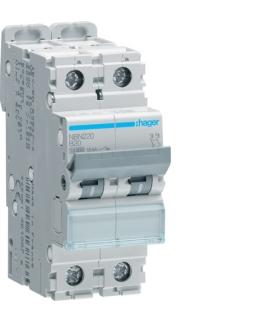 NBN220 MCB Wyłącznik nadprądowy Icn 10000A / Icu 15kA 2P B 20A Hager
