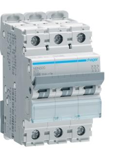 NBN320 MCB Wyłącznik nadprądowy Icn 10000A / Icu 15kA 3P B 20A  Hager