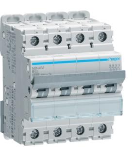 NBN463 MCB Wyłącznik nadprądowy Icn 10000A / Icu 15kA 4P B 63A  Hager