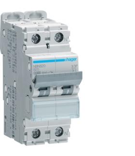 NBN520 MCB Wyłącznik nadprądowy Icn 10000A / Icu 15kA 1P+N B 20A  Hager