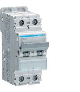 NBN563 MCB Wyłącznik nadprądowy Icn 10000A / Icu 15kA 1P+N B 63A  Hager