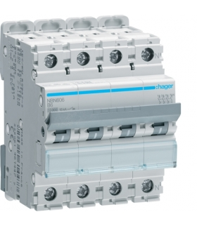 NBN606 MCB Wyłącznik nadprądowy Icn 10000A / Icu 15kA 3P+N B 6A  Hager