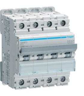 NBN613 MCB Wyłącznik nadprądowy Icn 10000A / Icu 15kA 3P+N B 13A  Hager