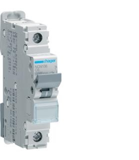 NCN106 MCB Wyłącznik nadprądowy Icn 10000A / Icu 15kA 1P C 6A  Hager