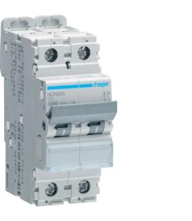 NCN206 MCB Wyłącznik nadprądowy Icn 10000A / Icu 15kA 2P C 6A  Hager