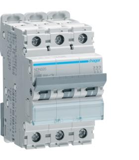 NDN320 MCB Wyłącznik nadprądowy Icn 10000A / Icu 15kA 3P D 20A Hager