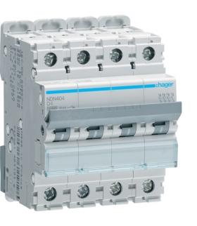 NDN404 MCB Wyłącznik nadprądowy Icn 10000A / Icu 15kA 4P D 4A  Hager