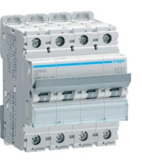 NDN406 MCB Wyłącznik nadprądowy Icn 10000A / Icu 15kA 4P D 6A  Hager