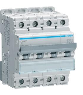 NDN463 MCB Wyłącznik nadprądowy Icn 10000A / Icu 15kA 4P D 63A  Hager