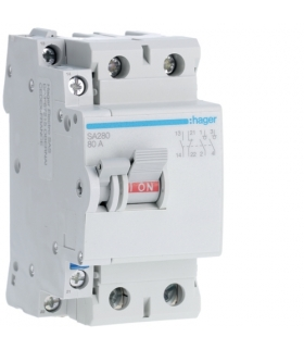 SA280 Modułowy rozłącznik izolacyjny z możliwością wyzwalania 2P 80A 230VAC, styk pom. Hager