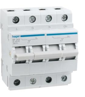 SF263 Modułowy przełącznik zasilania 1P+N I-0-II 63A 230VAC  Hager