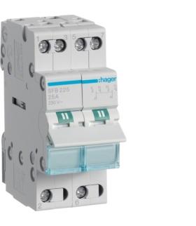 SFB225 Modułowy przełącznik instalacyjny I-0-II punkt wspólny od dołu 2P 25A 230VAC  Hager