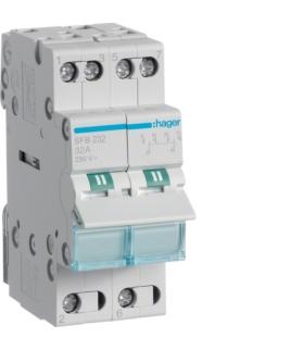 SFB232 Modułowy przełącznik instalacyjny I-0-II punkt wspólny od dołu 2P 32A 230VAC  Hager