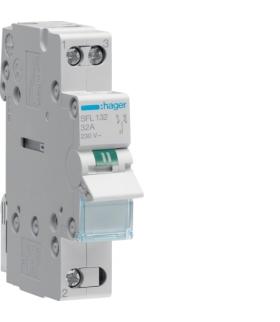 SFL132 Modułowy przełącznik instalacyjny I-II punkt wspólny od dołu 1P 32A 230VAC Hager