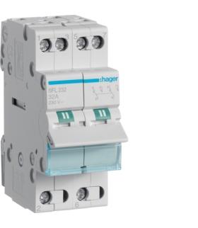 SFL232 Modułowy przełącznik instalacyjny I-II punkt wspólny od dołu 2P 32A 230VAC Hager