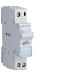 SFT132 Modułowy przełącznik instalacyjny I-0-II punkt wspólny od góry 1P 32A 230VAC  Hager