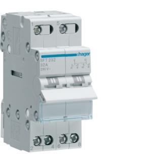 SFT232 Modułowy przełącznik instalacyjny I-0-II punkt wspólny od góry 2P 32A 230VAC  Hager