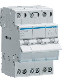 SFT340 Modułowy przełącznik instalacyjny I-0-II punkt wspólny od góry 3P 40A 400VAC  Hager