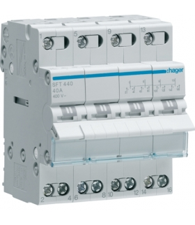 SFT440 Modułowy przełącznik instalacyjny I-0-II punkt wspólny od góry 4P 40A 400VAC  Hager
