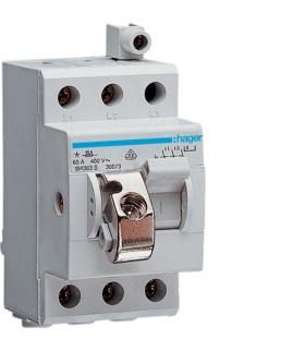 SH363S Modułowy rozłącznik izolacyjny w obudowie kompakt. 3P 63A 400VAC zac.dod. blok. Hager