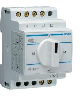SK603 Przełącznik amperomierza 4-pozycyjny 400V,  20A  Hager