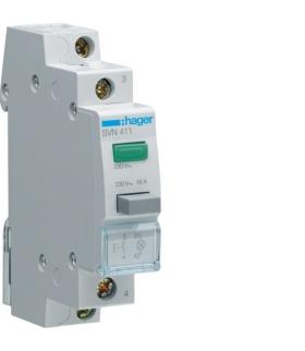 SVN411 Przycisk sterowniczy 1NO LED zielona Ith 16A 230VAC Hager