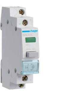 SVN413 Przełącznik przyciskowy 1NO LED zielona Ith 16A 230VAC Hager