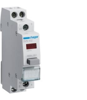 SVN432 Przycisk sterowniczy 2NO LED czerwona Ith 16A 230VAC Hager