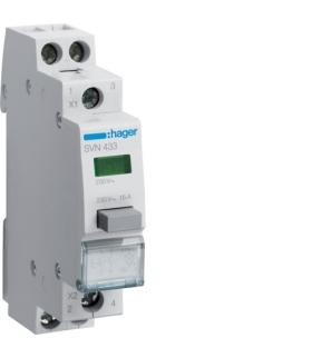 SVN433 Przełącznik przyciskowy 2NO LED zielona Ith 16A 230VAC Hager