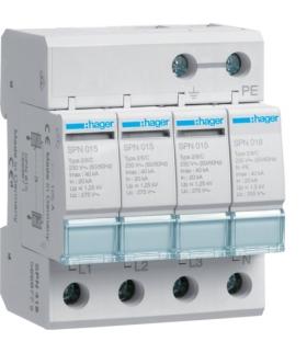 SPN418 SPD Ogranicznik przepięć T2 4P sieć TN-S/TT In 20kA Up≤1,25kV Hager