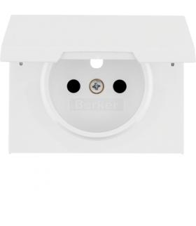 K.1 Płytka czołowa do gniazda z uziemieniem i pokrywą, biały Berker 3965777109