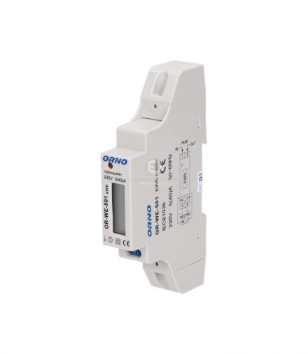 1-fazowy wskaźnik zużycia energii elektrycznej, 40A, wyjście impulsowe OR-WE-501
