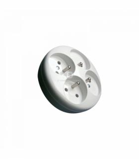Rozgałęźnik 4 gn okrągłe z bolcem biały Orno R-41