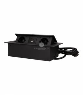 Gniazda wpuszczane w blat z płaskim frezowanym rantem, ładowarką USB i przewodem 1,5m, 2x2P+Z, 2xUSB, czarne Orno OR-AE-13126/B