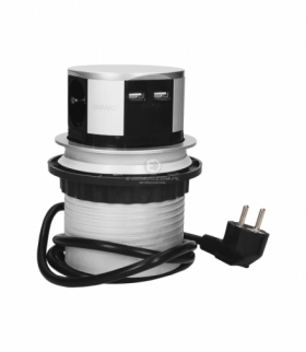Gniazdo meblowe Ø10cm wysuwane z blatu z ładowarką USB i przewodem 1,5m, 3x2P+Z, 2xUSB, wersja schuko Orno OR-AE-1342(GS)