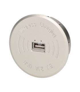Bezprzewodowa ładowarka indukcyjna z dodatkowym portem USB, srebrna
