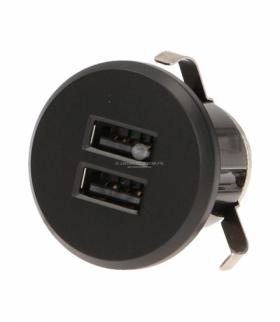 Przewodowa ładowarka USB wpuszczana w blat z zasilaczem, czarna