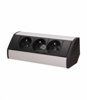 Gniazdo meblowe 3x2P+Z, czarno-srebrne Orno OR-GM-9001/B-G