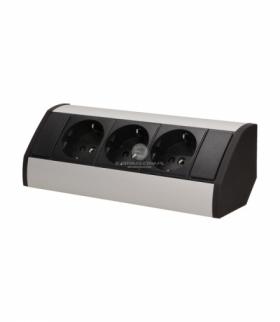 Gniazdo meblowe 3x2P+Z, schuko, czarno-srebrne Orno OR-GM-9001/B-G(GS)