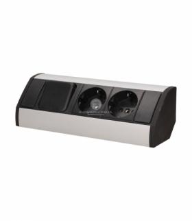 Gniazdo meblowe 2x2P+Z z wyłącznikiem, schuko, czarno-srebrne Orno OR-GM-9002/B-G(GS)