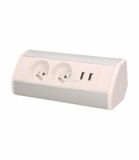 Gniazdo meblowe 2x2P+Z + USB, biało-srebrne Orno OR-GM-9003/W-G