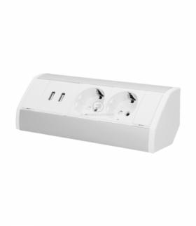 Gniazdo meblowe 2x2P+Z + USB, schuko, biało-srebrne Orno OR-GM-9003/W-G(GS)