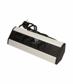 Gniazdo meblowe bez wyłącznika 3x2P+Z, USBx2, z przewodem 1,8m