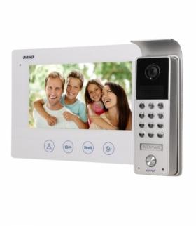 """Zestaw wideodomofonowy bezsłuchawkowy, kolor, LCD 7"""", z szyfratorem, natynkowy, biały, CERES Orno OR-VID-ME-1056/W"""
