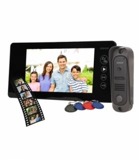 """Zestaw wideodomofonowy bezsłuchawkowy, kolor, 7"""" LCD, pin hole, pamięć, z czytnikiem breloków zbliżeniowych, czarny, ARCUS RFID"""